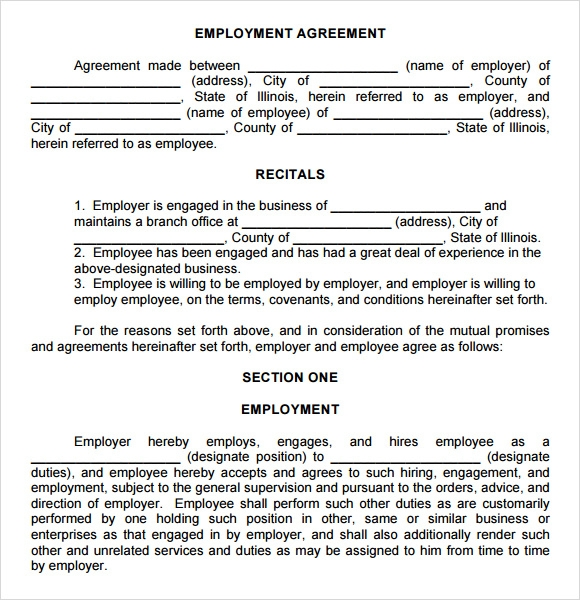 Sample Employment Agreement 8 Documents In PDF Word – Employment Agreement Template