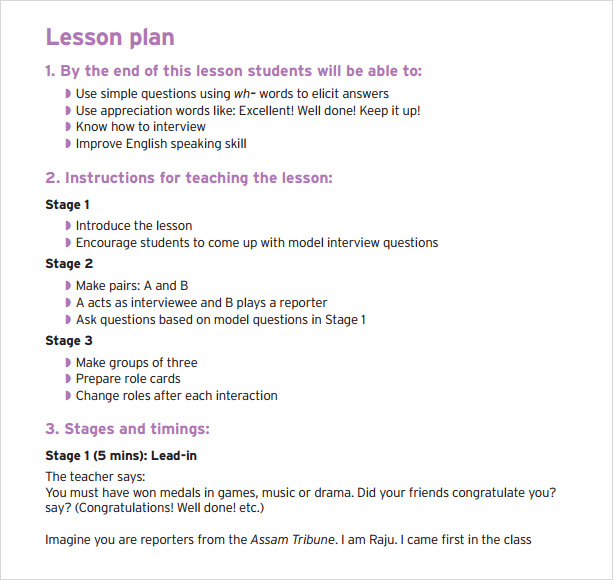 Sample Preschool Lesson Plan   Examples Format