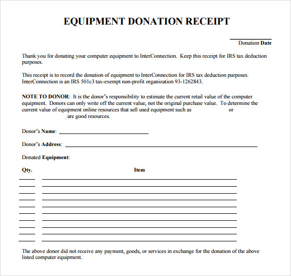 9 Donation Receipt Templates Free Samples Examples Format – Sample Donation Receipt