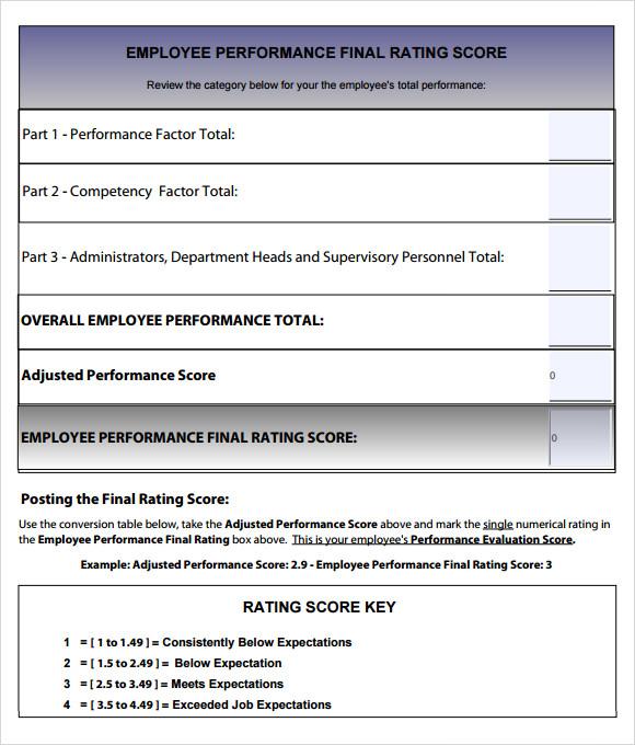 evaluating supervisor performance samples