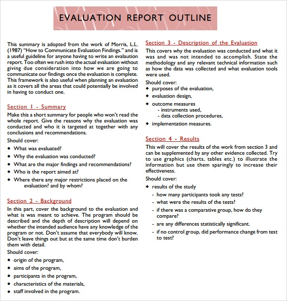 Sample Evaluation Report   Documents In  Word