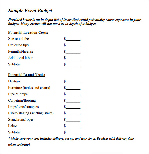 9 event budget samples sample templates. Black Bedroom Furniture Sets. Home Design Ideas