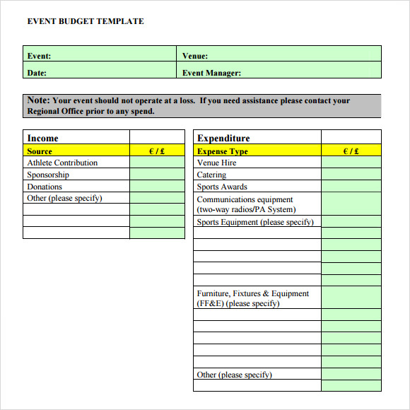 Sample Event Budget   Documents In Pdf Word Excel