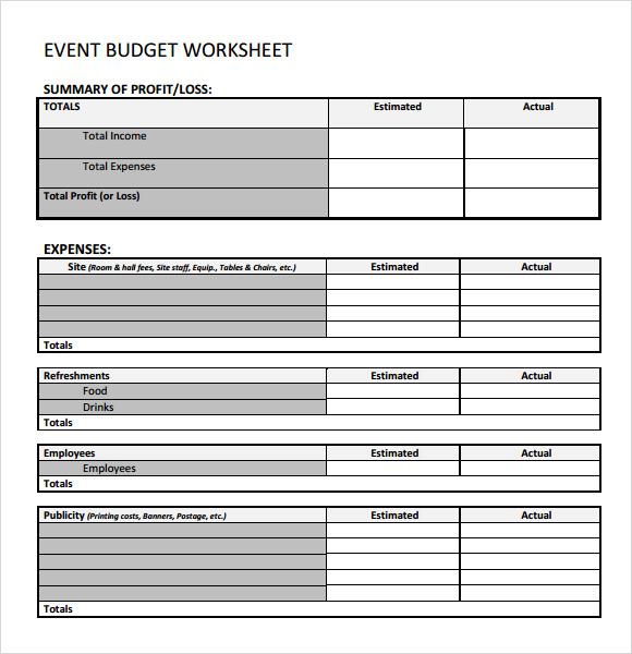 event budget sample