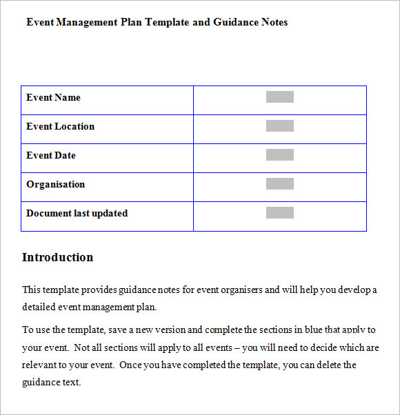 Events Management Business Plan Pdf
