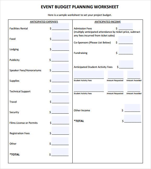 9 event budget samples sample templates