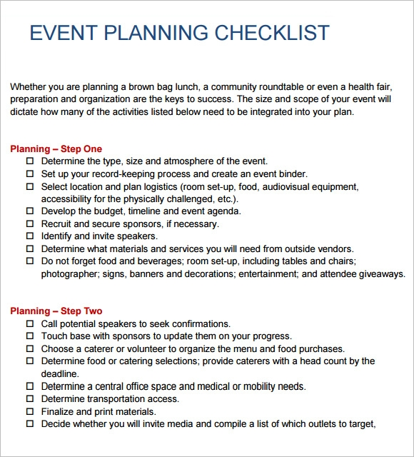 Event Planning Checklist Template  Free Sample Example Format