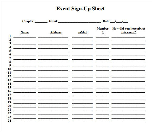 Sample Sign Up Sheet   Example Format