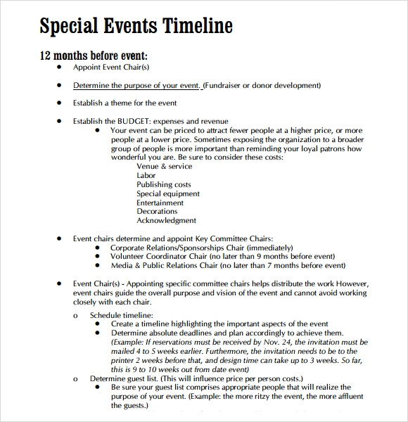 Sample Event Timeline - 8+ Documents In Pdf, Word