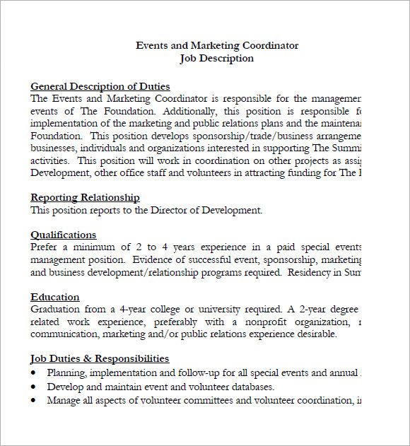 events and marketing coordinator cover letter