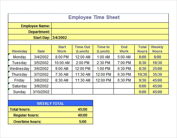 Sample Time Sheet - 10+ Example, Format