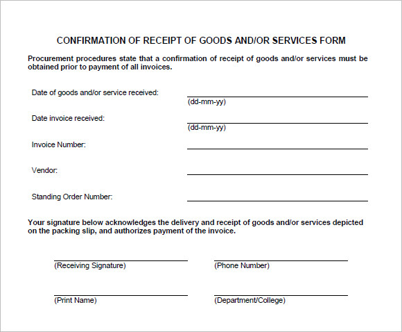 Goods Service Receipt Template  Proof Of Receipt Form