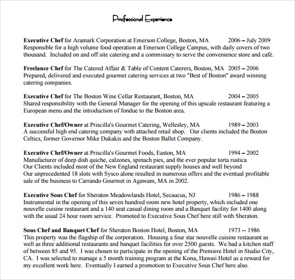 chef resume 8 free samples examples format