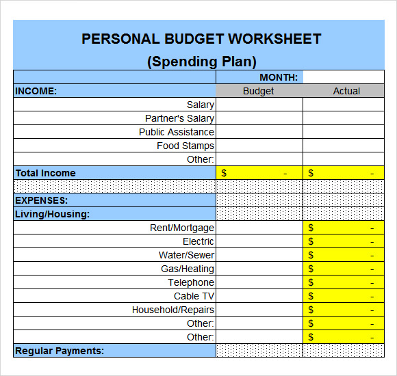 Living expenses spreadsheet excel personal budget for Monthly living expenses template