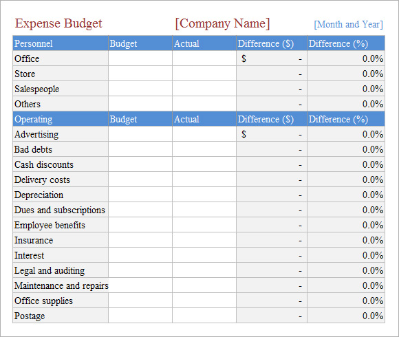 Sample Budget Sheet - Template