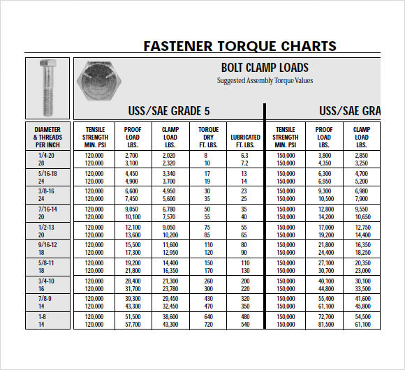 Free 9 Bolt Torque Chart Templates In Pdf