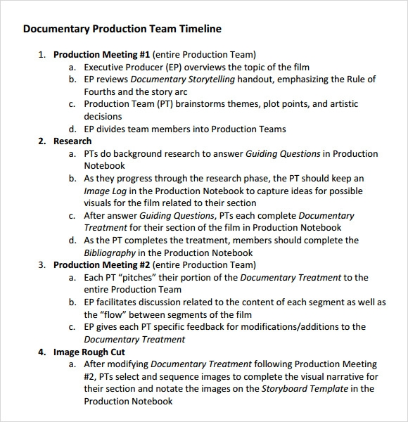 Production Timeline Template   Download Free Documents In Pdf
