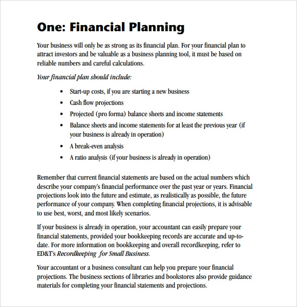 Sample Financial Business Plan   Documents In Pdf