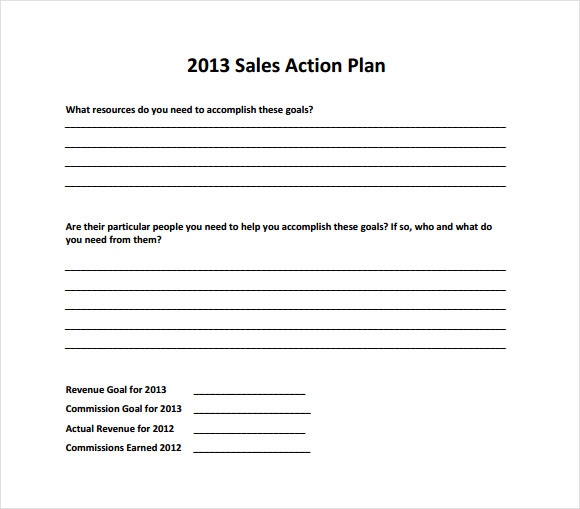 Sample Sales Plan 9 Example Format – Example of Action Plan Template
