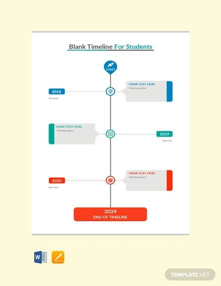 free blank timeline template for students