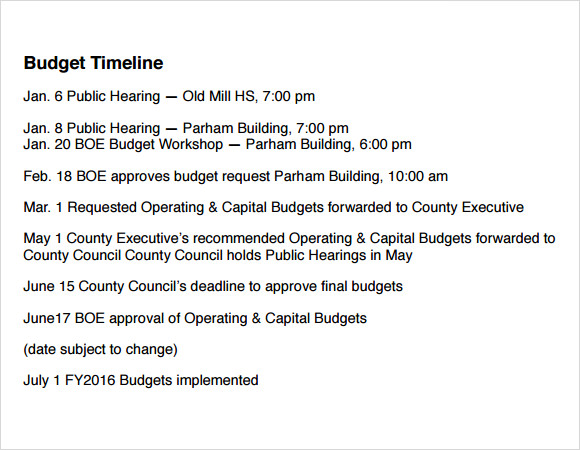 free budget timeline template