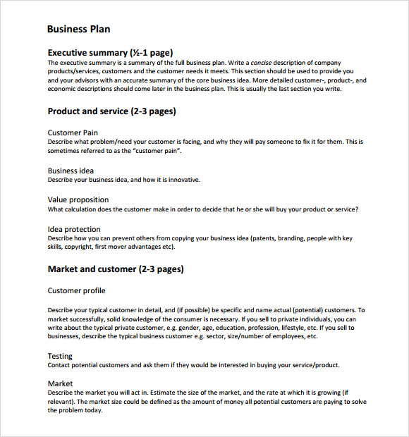 Sample Business Plan 6 Documents in Word Excel PDF – Business Plan Format