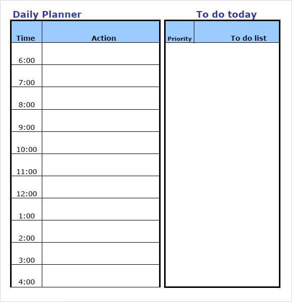 Daily Planner Template 8 Free Samples Examples Format – Day Planner Template Word
