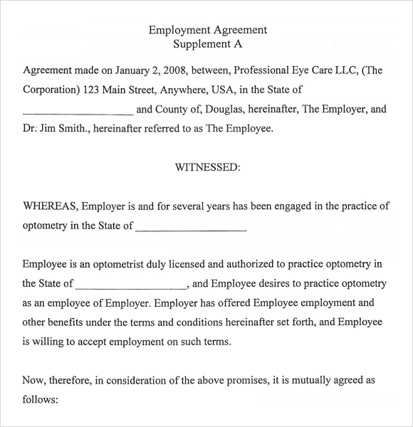Sample Employment Agreement   Documents In Pdf Word