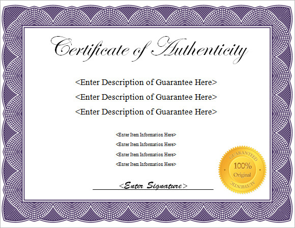 16 certificate of authenticity samples sample templates for Free printable certificate of authenticity templates