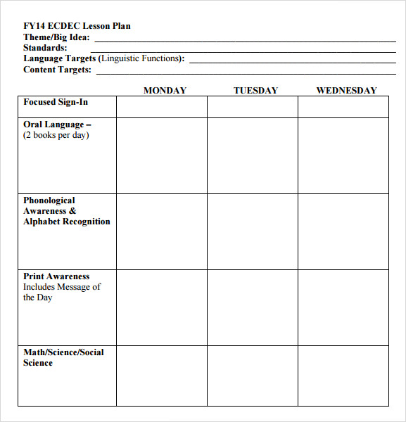 Sample Preschool Lesson Plan 9 Examples Format – Preschool Lesson Plan Template