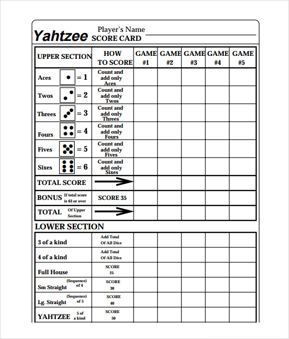 Yahtzee Score Sheet Templates – Free Samples, Examples & Format