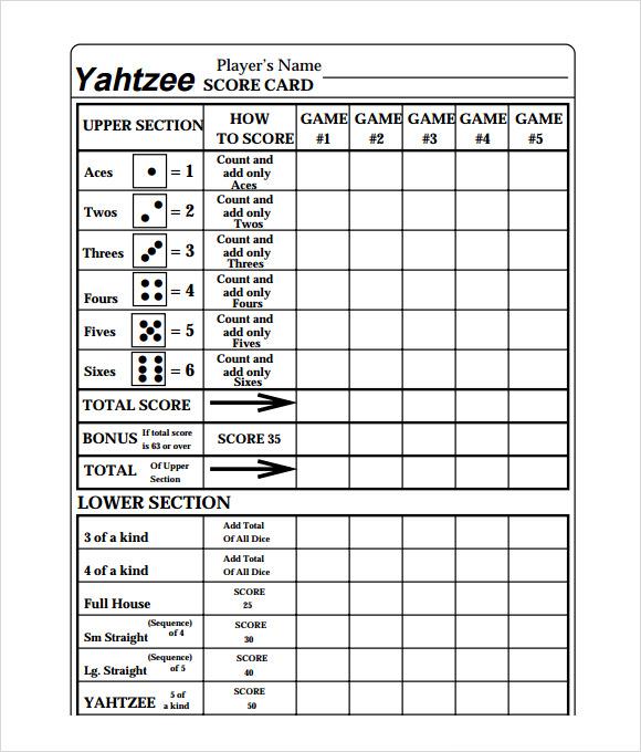 online yahtzee score sheets that keep score