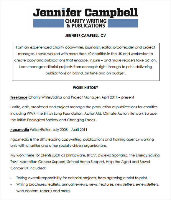 Journalist Writer Cv