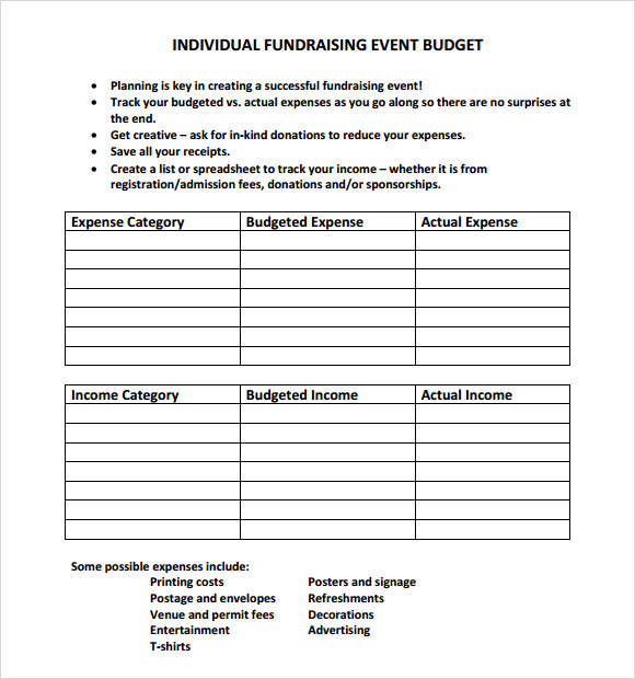 Sample Event Budget 8 Documents in PDF Word Excel – Event Budget Template