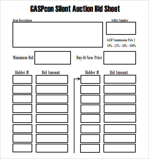 bid sheet for silent auction printable