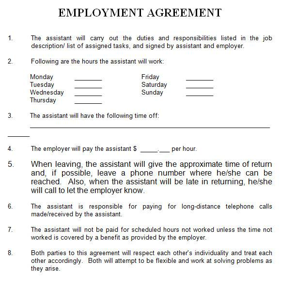 general employment agreement in ms word