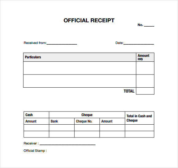 Cash Cheque Receipt Format – Receipt Samples