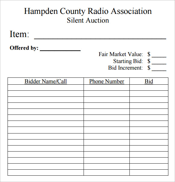 Sample Silent Auction Bid Sheet   Example Format