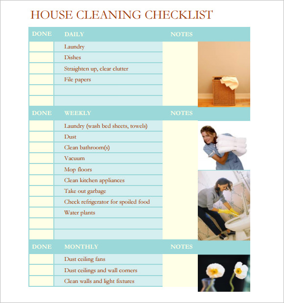 Sample House Cleaning Checklist - 9+ Documents In Pdf, Word