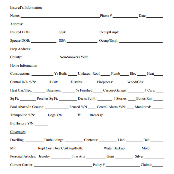 Home Owners Quote Sheet PDF