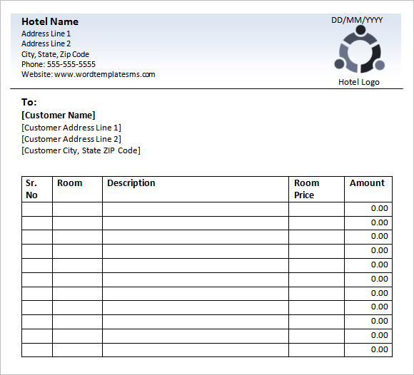 Sample Hotel Receipt Template 8 Download Free Documents in Word PDF – Receipt Sample in Word