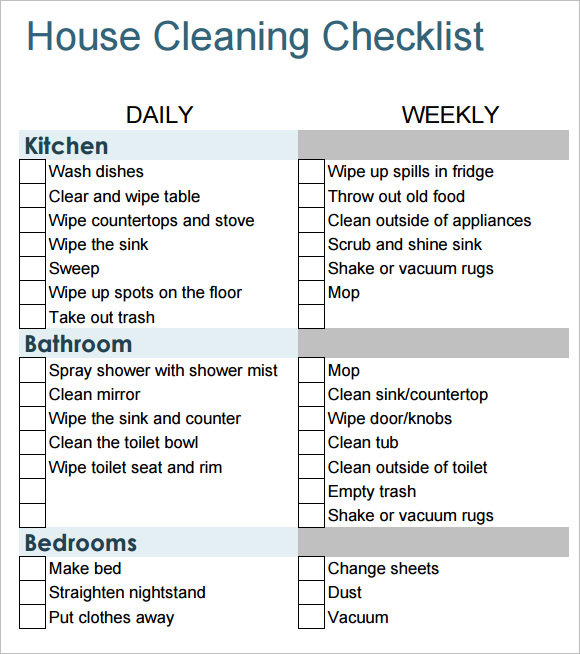 Sample House Cleaning Checklist   Documents In Pdf Word
