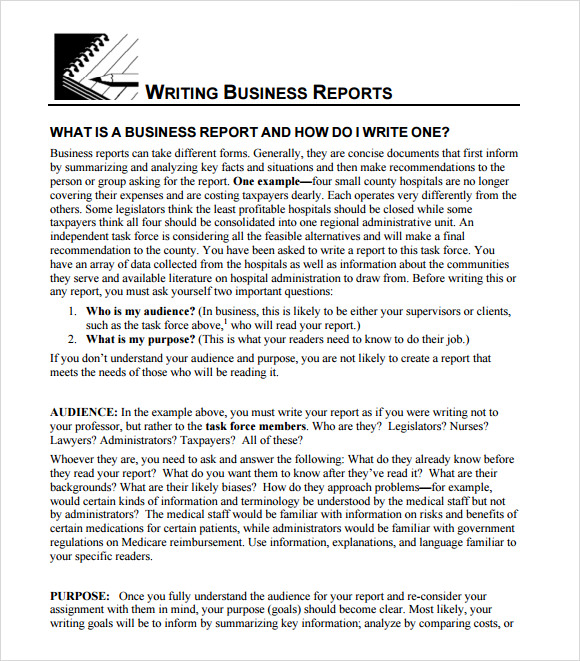 how to write a business report example Six steps in writing a routine business report 1 for example, if you were a tendency in business report writing is to slant information in the report.