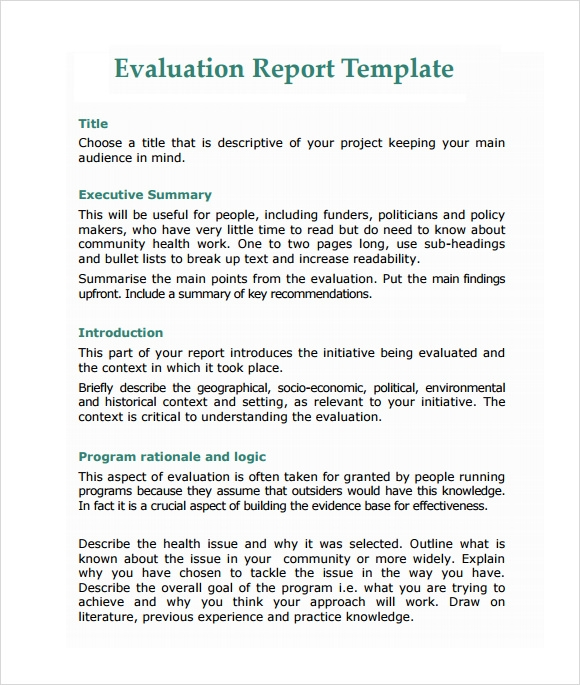 Sample Evaluation Report - 12+ Documents in PDF, Word, Apple Pages