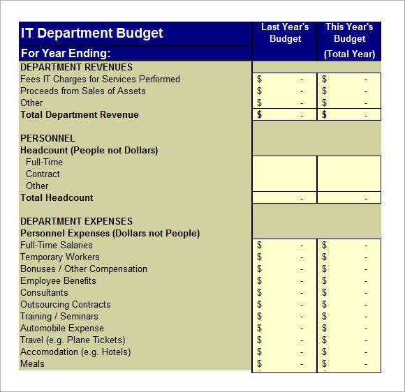 IT Budget Template – 5+ Free Samples , Examples , Format | Sample ...