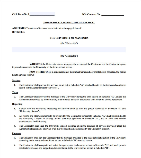 Sample Independent Contractor Agreement 12 Documents in PDF Word – Independent Agreement Contract