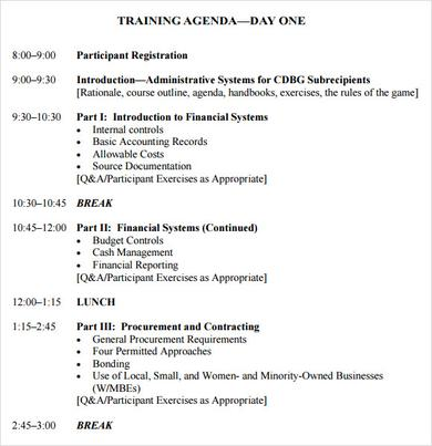 internal training agenda template
