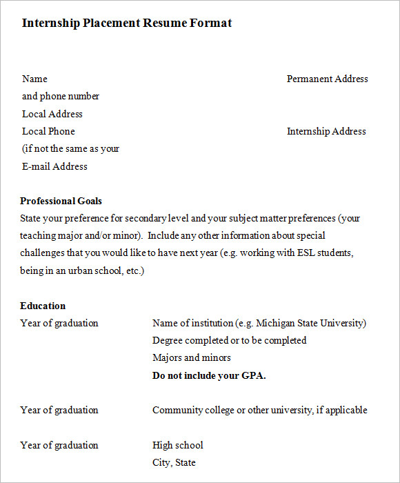 Internship Placement Resume Format  Resume For An Internship