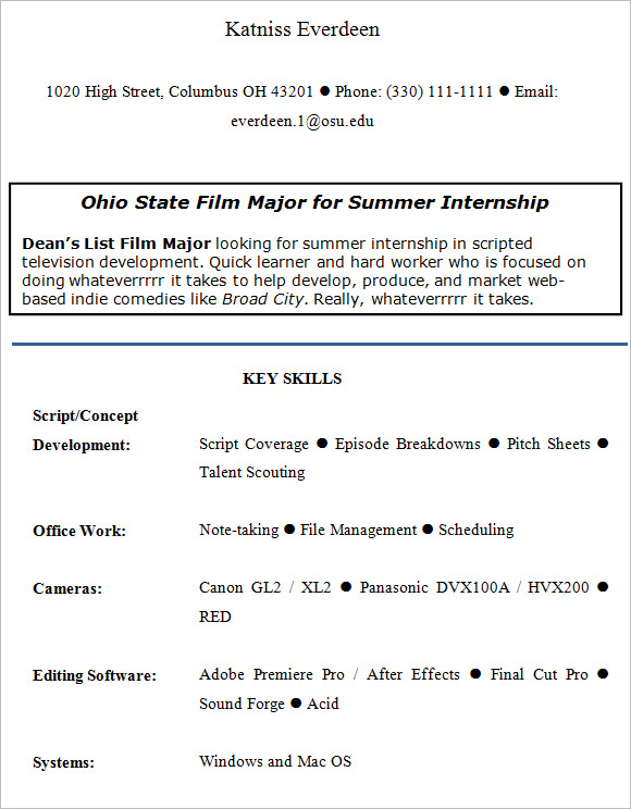 Internship Resume – 9+ Free Samples , Examples , Format