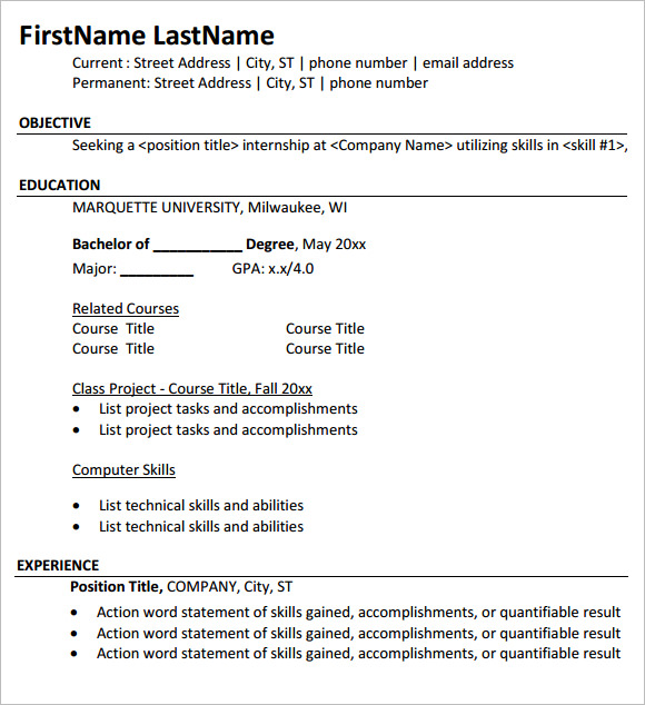 10 internship resume templates  u2013 free samples   examples  u0026 format